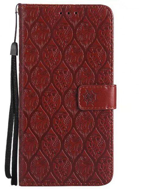 Cover Case for Huawei Mate 9 Embossed Rattan Pattern PU Leather Wallet Case - BROWN