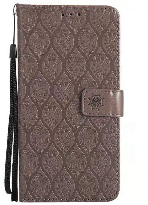 Cover Case for Huawei Mate 9 Embossed Rattan Pattern PU Leather Wallet Case - GRAY