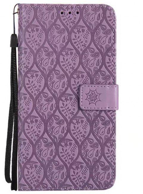 Cover Case for Huawei Mate 9 Embossed Rattan Pattern PU Leather Wallet Case - PURPLE