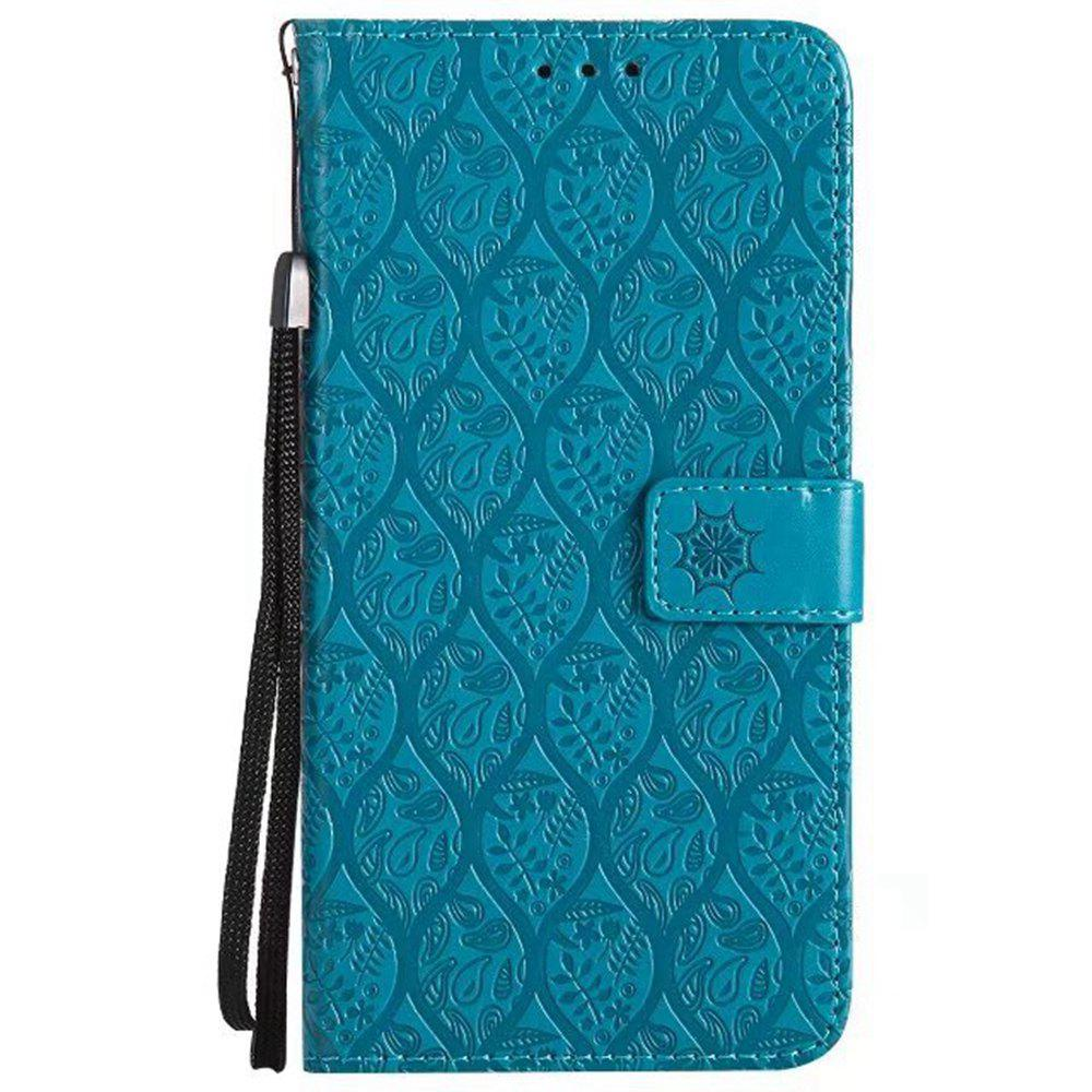 Cover Case for Huawei Mate 9 Embossed Rattan Pattern PU Leather Wallet Case - BLUE