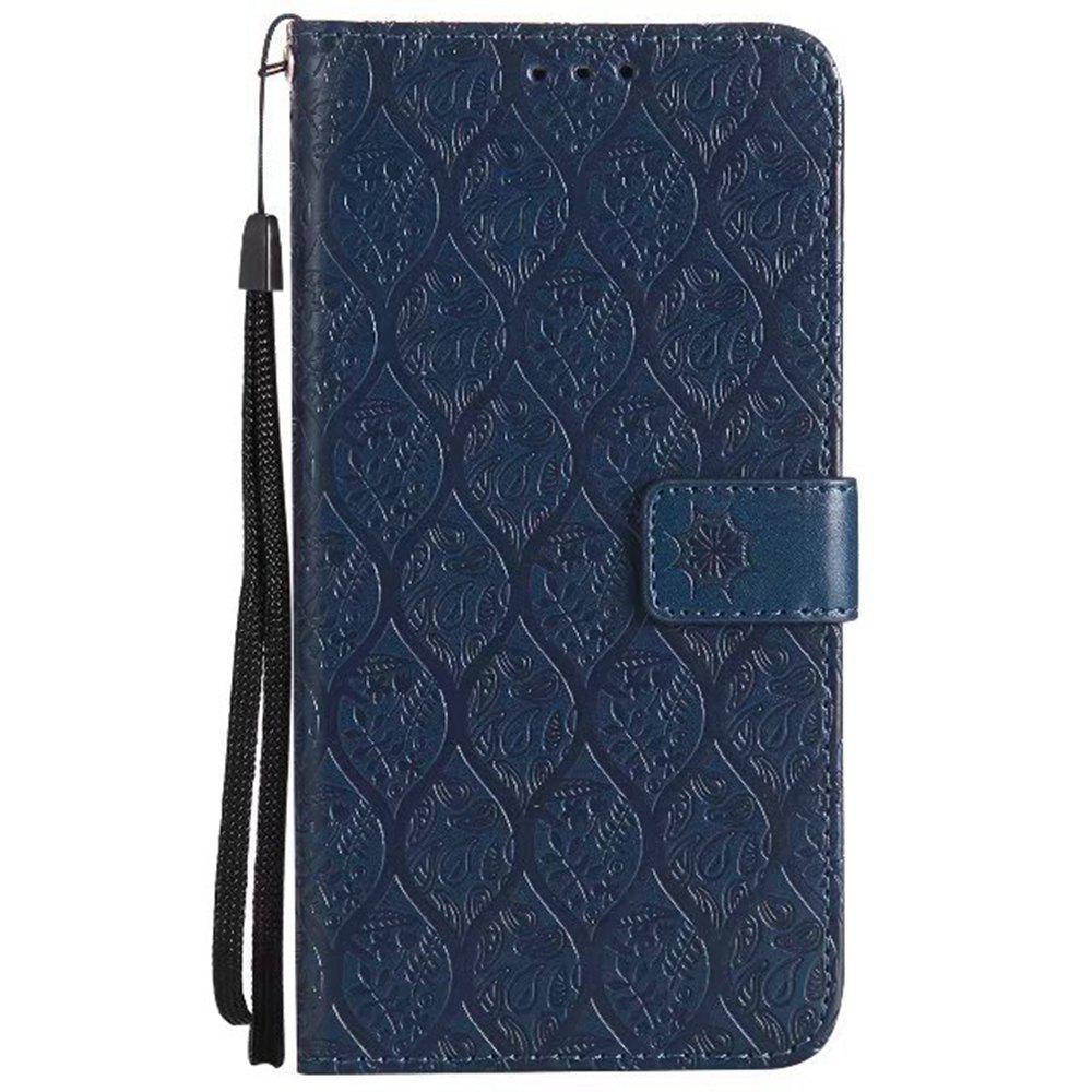 Cover Case for Huawei Mate 9 Embossed Rattan Pattern PU Leather Wallet Case - CERULEAN