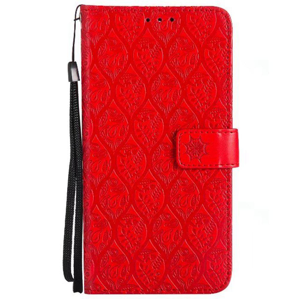 Cover Case for Huawei Mate 9 Embossed Rattan Pattern PU Leather Wallet Case - RED