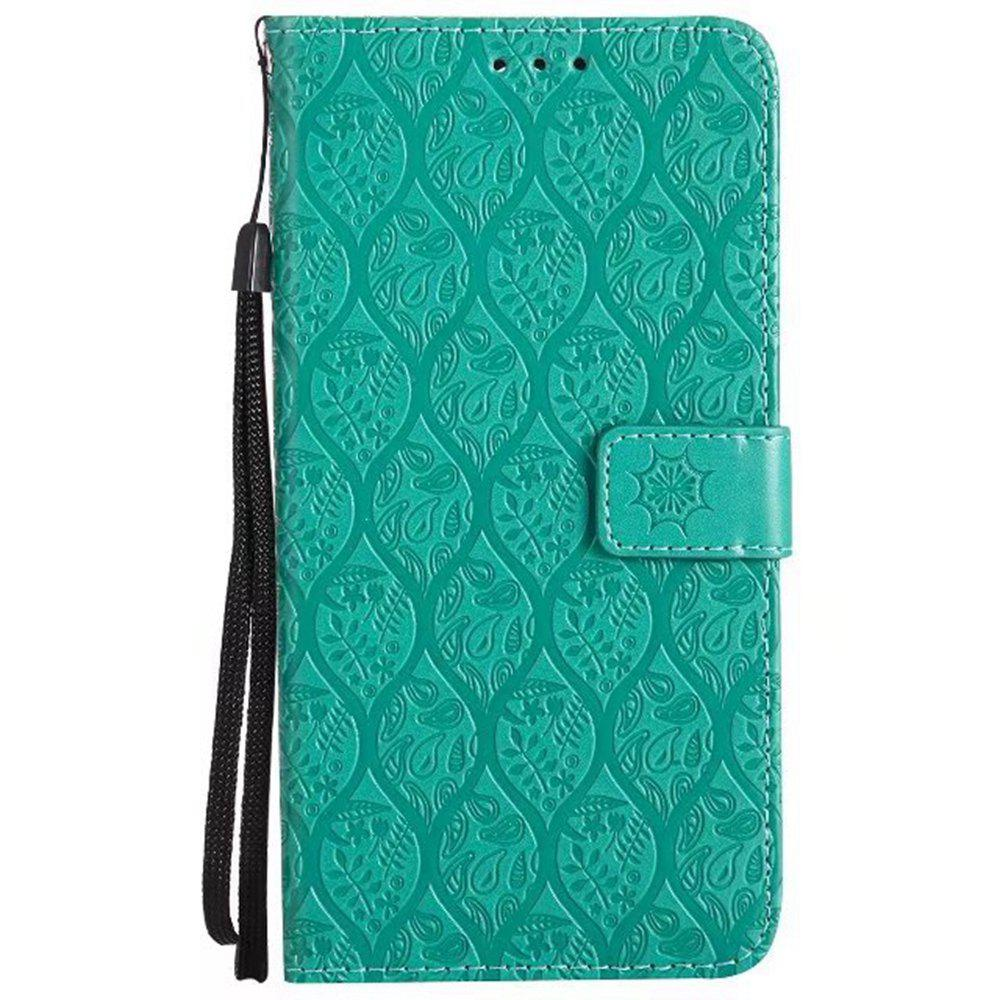 Cover Case for Huawei Mate 9 Embossed Rattan Pattern PU Leather Wallet Case - GREEN
