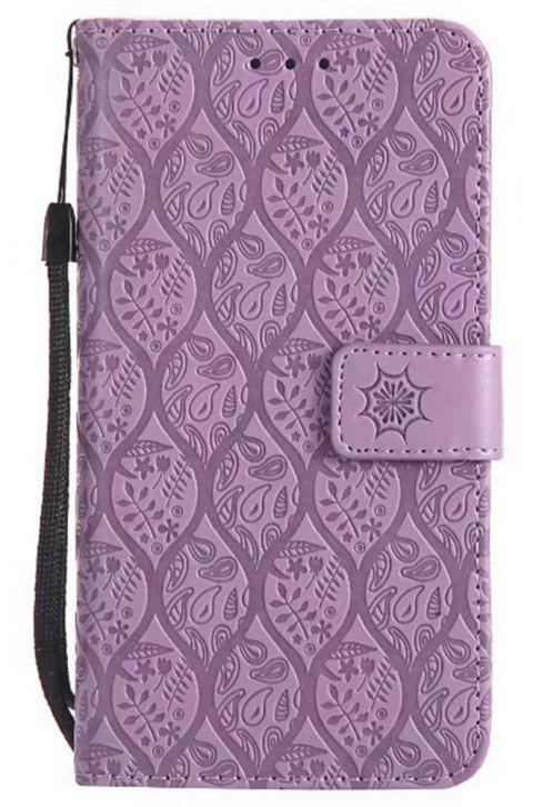 Cover Case for Huawei P8 Lite Embossed Rattan Pattern PU Leather Wallet Case - PURPLE