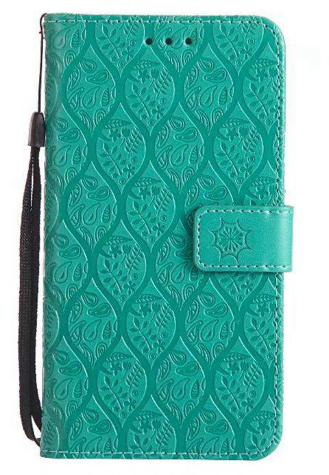 Cover Case for Huawei P8 Lite Embossed Rattan Pattern PU Leather Wallet Case - GREEN