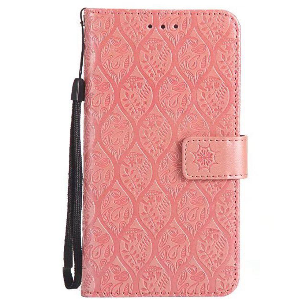 Cover Case for Huawei P8 Lite Embossed Rattan Pattern PU Leather Wallet Case - ROSE GOLD