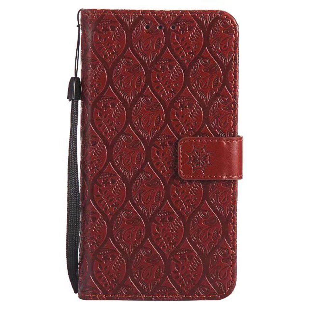 Cover Case for Huawei P8 Lite Embossed Rattan Pattern PU Leather Wallet Case - BROWN
