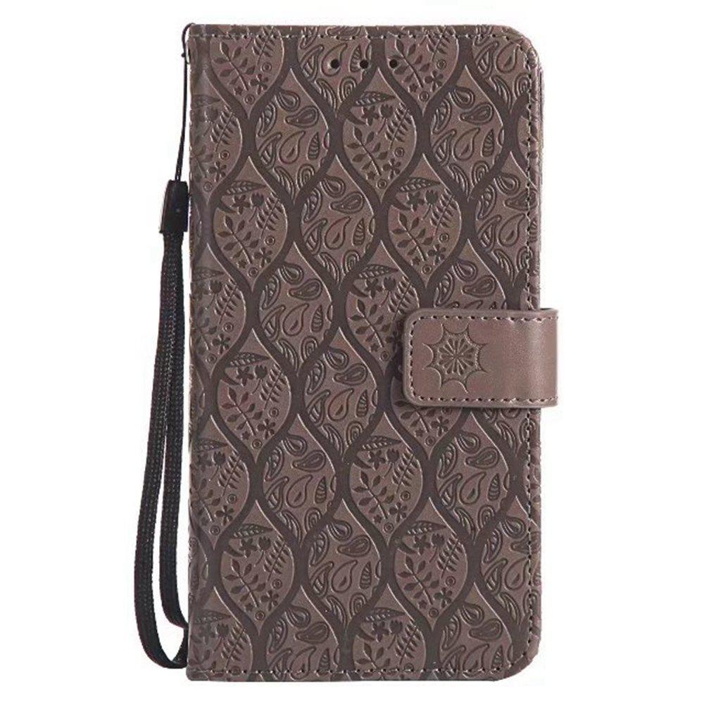 Cover Case for Huawei P8 Lite Embossed Rattan Pattern PU Leather Wallet Case - GRAY