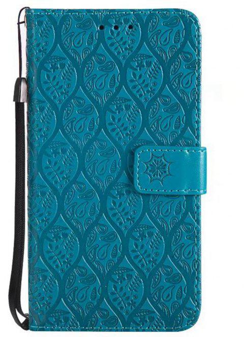Cover Case for Huawei P10 Lite Embossed Rattan Pattern PU Leather Wallet Case - BLUE