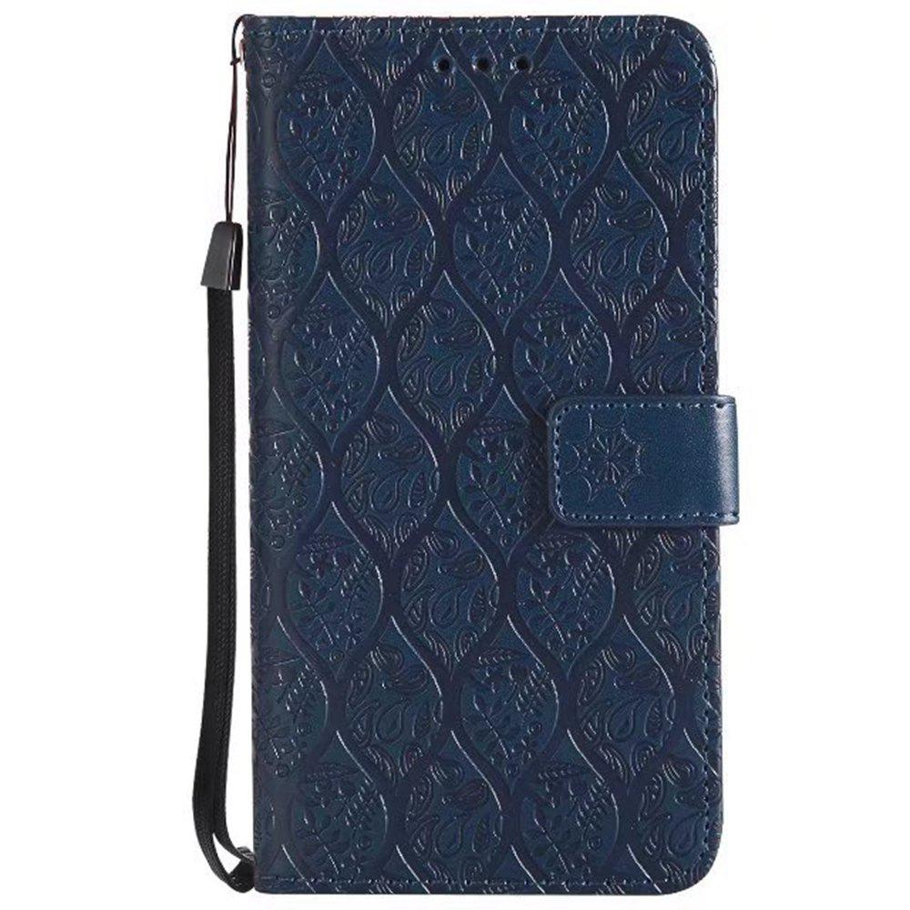 Cover Case for Huawei P10 Lite Embossed Rattan Pattern PU Leather Wallet Case - CERULEAN