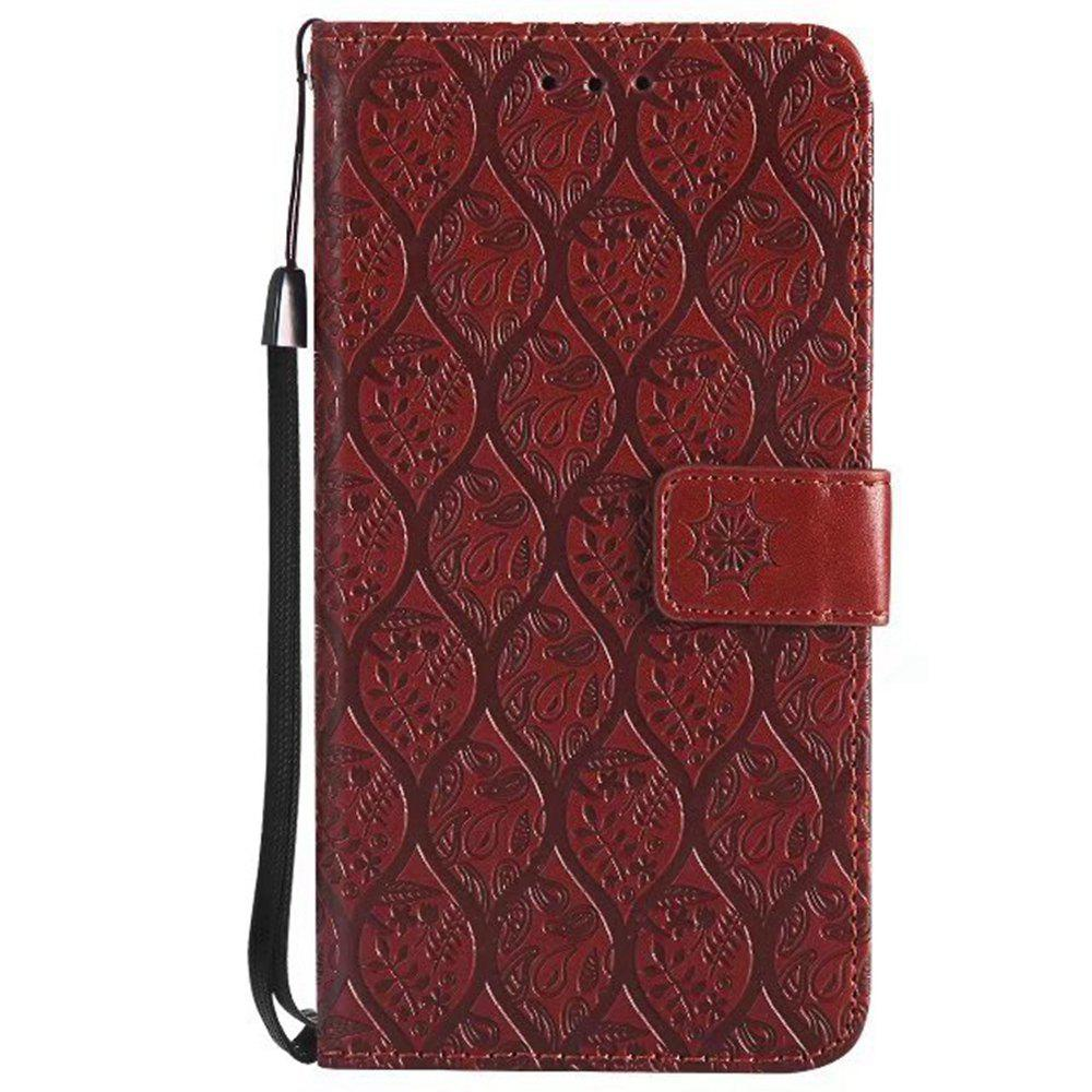 Cover Case for Huawei P10 Lite Embossed Rattan Pattern PU Leather Wallet Case - BROWN