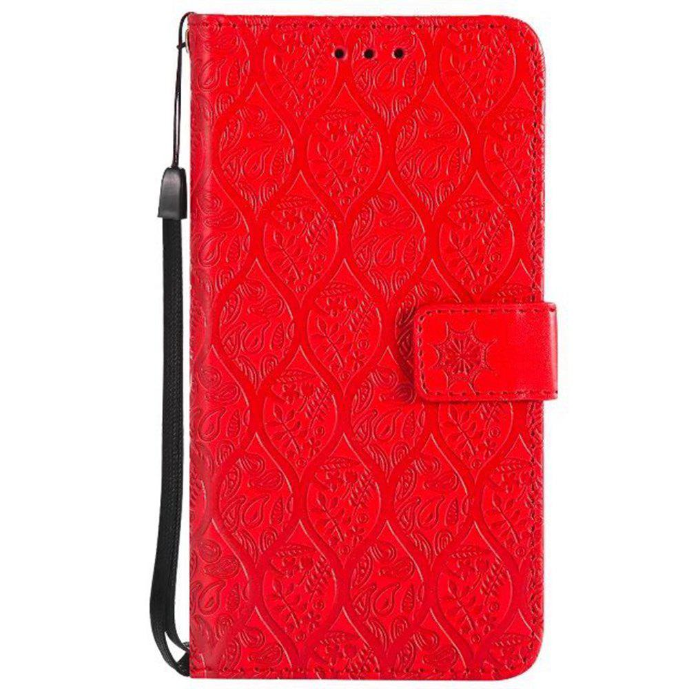 Cover Case for Huawei P10 Lite Embossed Rattan Pattern PU Leather Wallet Case - RED