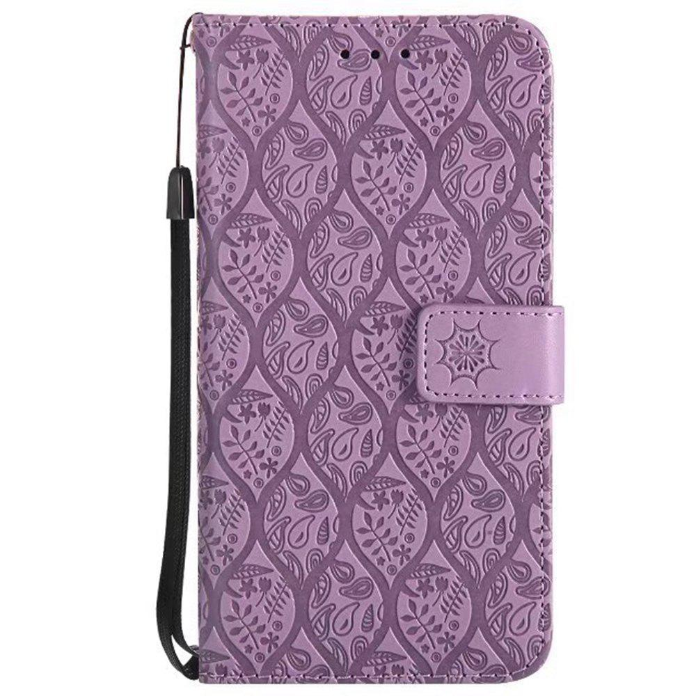 Cover Case for Huawei P10 Lite Embossed Rattan Pattern PU Leather Wallet Case - PURPLE