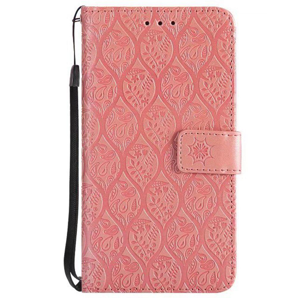 Cover Case for Huawei P10 Lite Embossed Rattan Pattern PU Leather Wallet Case - ROSE GOLD
