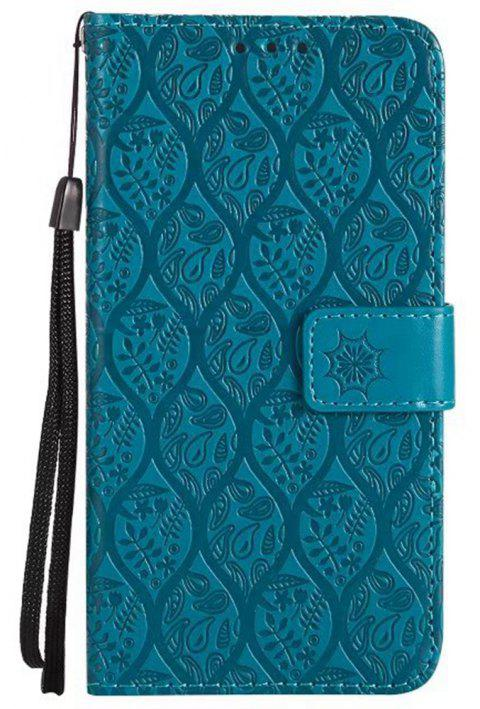 Cover Case for Huawei P10 Embossed Rattan Pattern PU Leather Wallet Case - BLUE