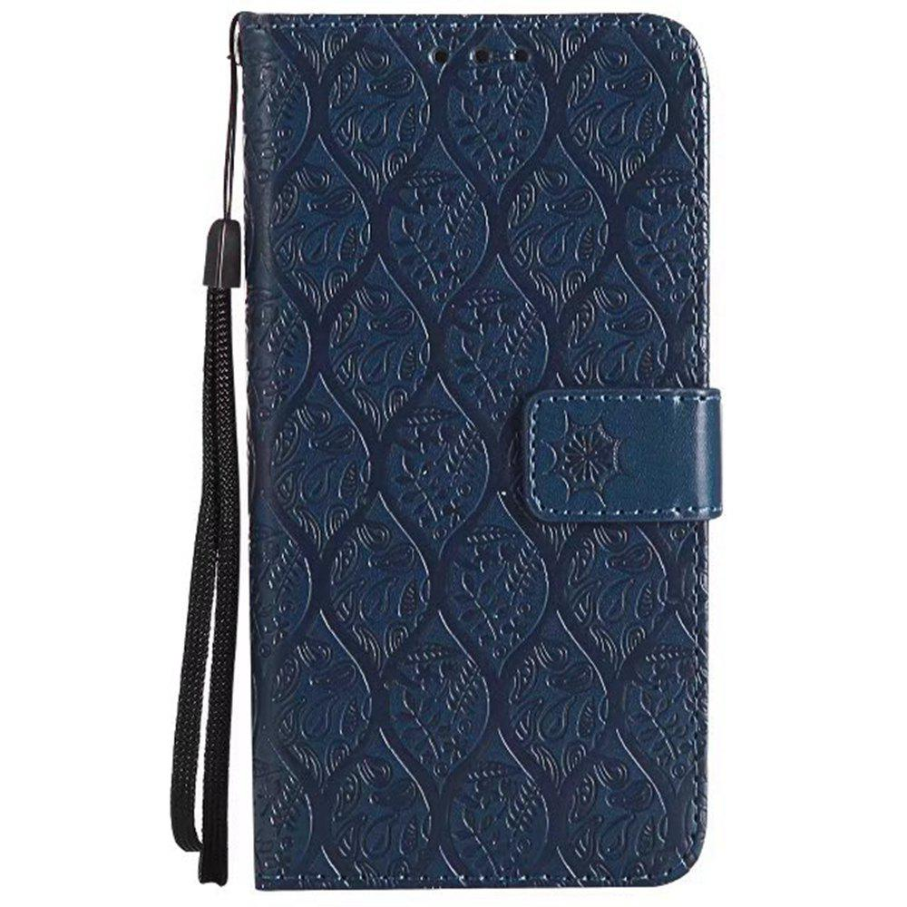 Cover Case for Huawei P10 Embossed Rattan Pattern PU Leather Wallet Case - CERULEAN