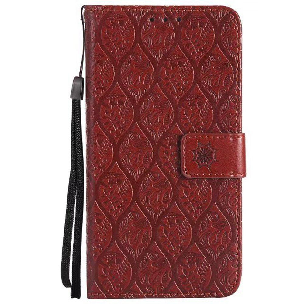 Cover Case for Huawei P10 Embossed Rattan Pattern PU Leather Wallet Case - BROWN