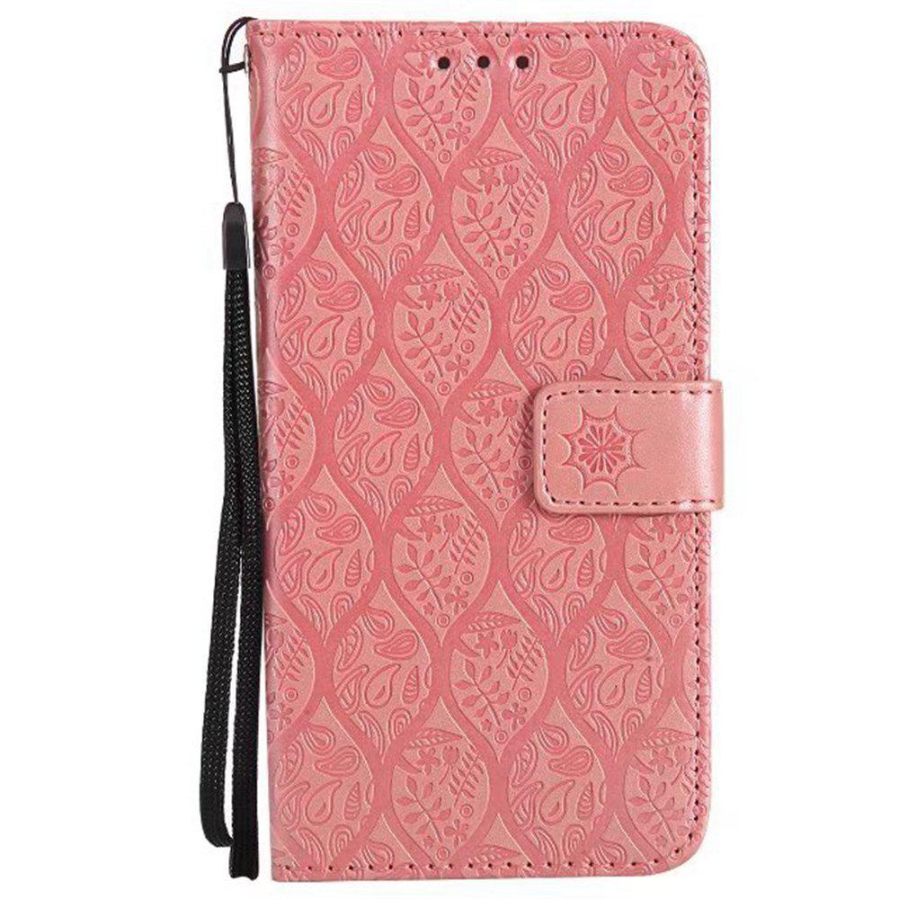 Cover Case for Huawei P10 Embossed Rattan Pattern PU Leather Wallet Case - ROSE GOLD