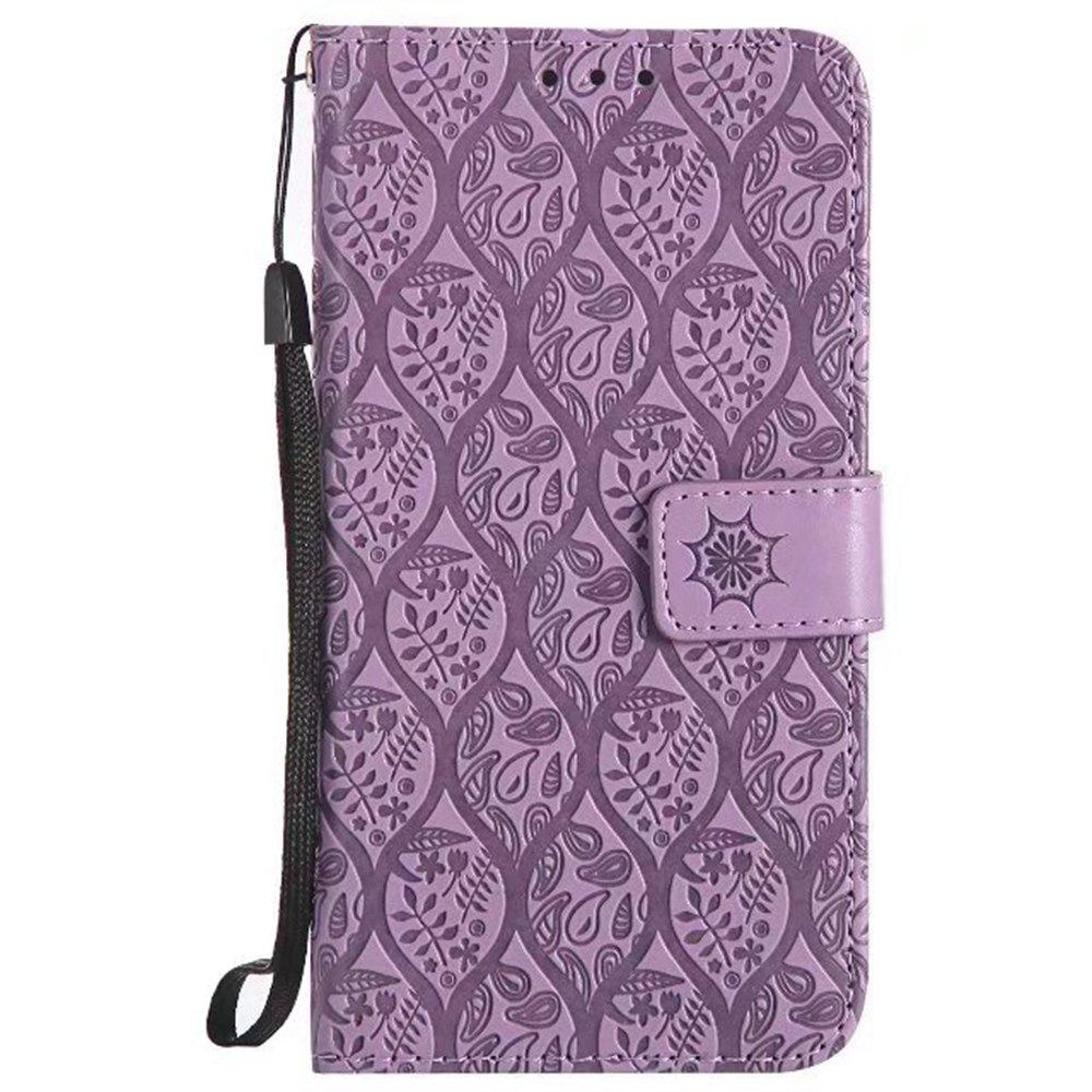 Cover Case for Huawei P10 Embossed Rattan Pattern PU Leather Wallet Case - PURPLE