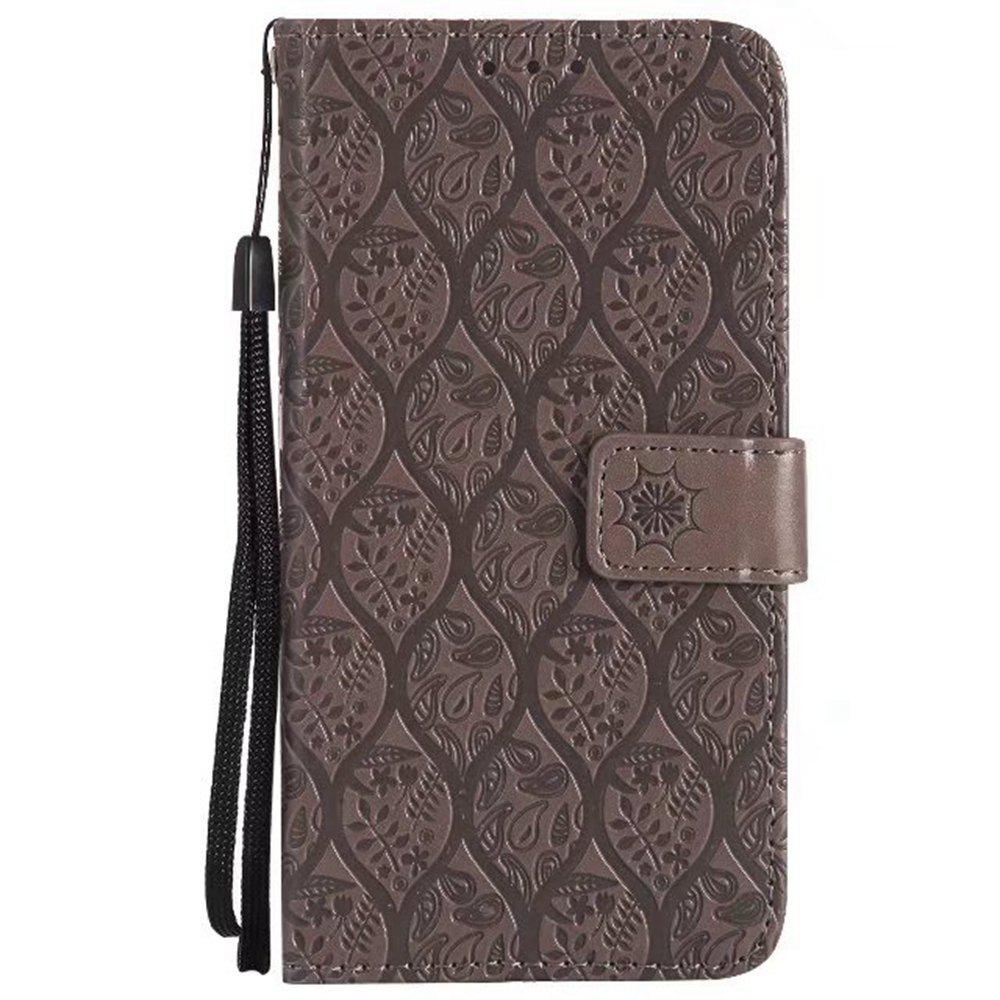 Cover Case for Huawei P10 Embossed Rattan Pattern PU Leather Wallet Case - GRAY