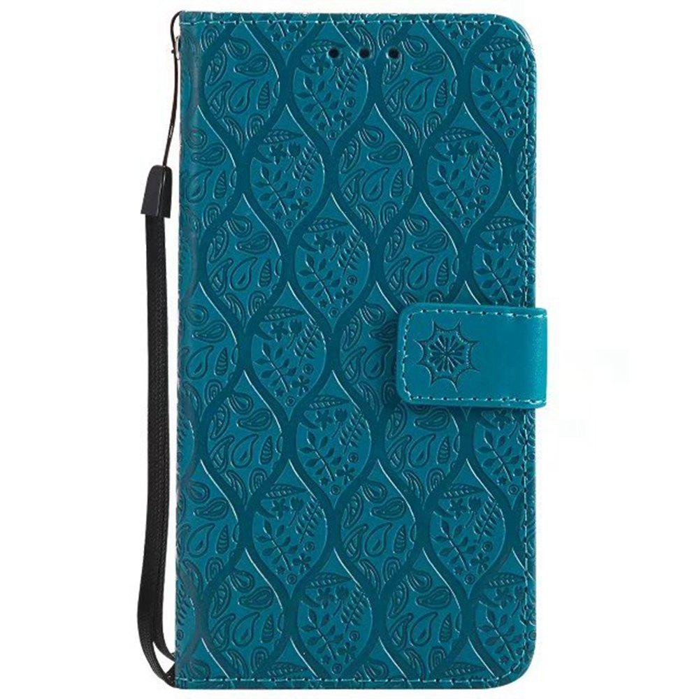 Cover Case for Huawei Y3 2017 Embossed Rattan Pattern PU Leather Wallet Case - BLUE