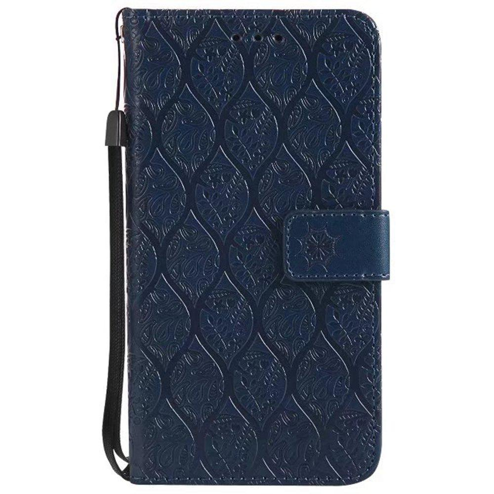 Cover Case for Huawei Y3 2017 Embossed Rattan Pattern PU Leather Wallet Case - CERULEAN