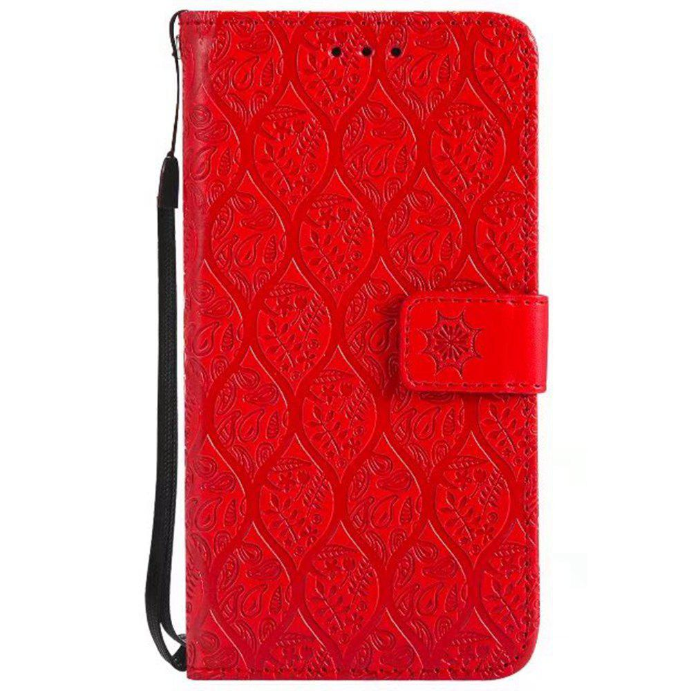 Cover Case for Huawei Y3 2017 Embossed Rattan Pattern PU Leather Wallet Case - RED