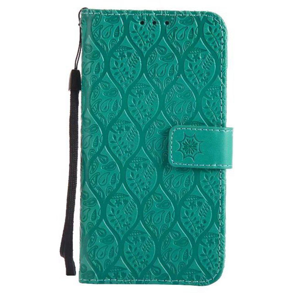 Cover Case for Huawei Y5 2017 Embossed Rattan Pattern PU Leather Wallet Case - GREEN