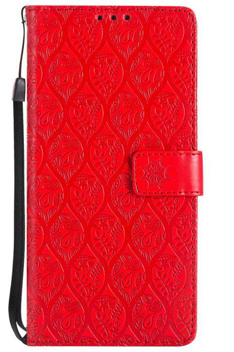 Cover Case for Sony Xperia XA Ultra Embossed Rattan Pattern PU Leather Wallet Case - RED