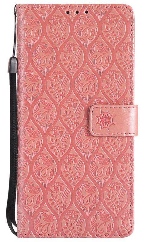 Cover Case for Sony Xperia XA Ultra Embossed Rattan Pattern PU Leather Wallet Case - ROSE GOLD