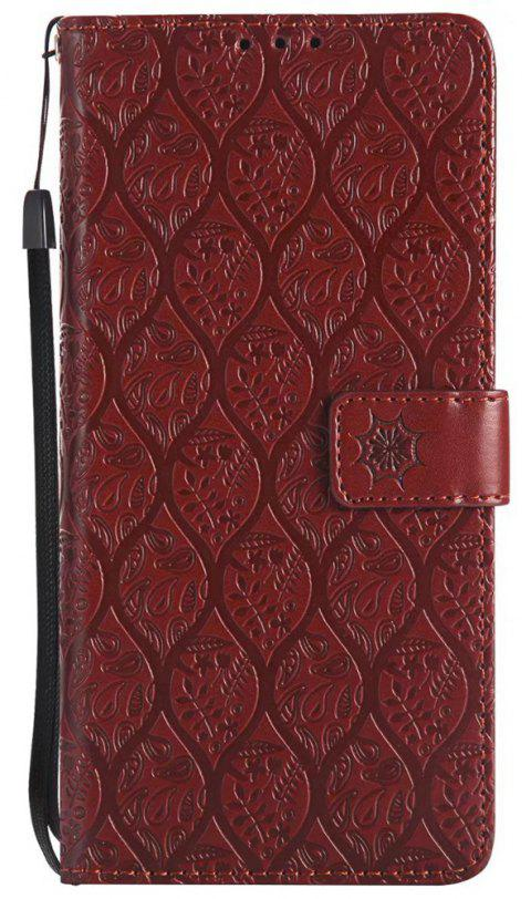 Cover Case for Sony Xperia XA Ultra Embossed Rattan Pattern PU Leather Wallet Case - BROWN