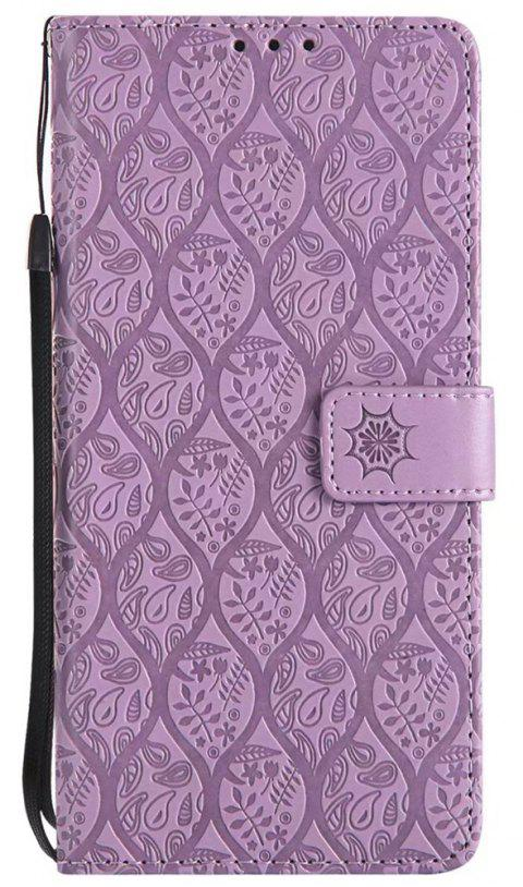 Cover Case for Sony Xperia XA Ultra Embossed Rattan Pattern PU Leather Wallet Case - PURPLE