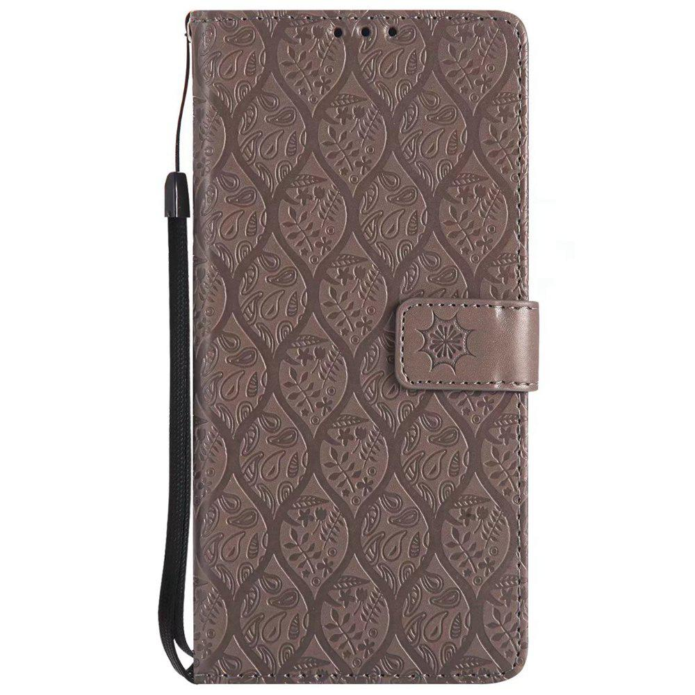 Cover Case for Sony Xperia XA Ultra Embossed Rattan Pattern PU Leather Wallet Case - GRAY