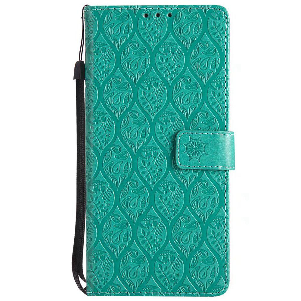 Cover Case for Sony Xperia XA Ultra Embossed Rattan Pattern PU Leather Wallet Case - GREEN