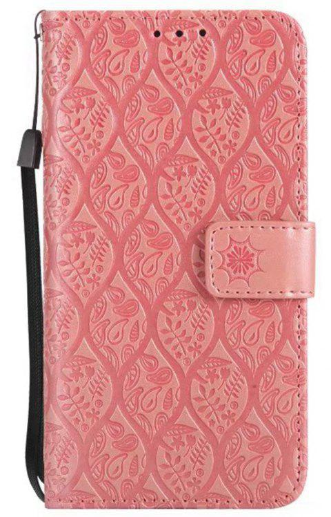 Cover Case for Sony Xperia E5 Embossed Rattan Pattern PU Leather Wallet Case - ROSE GOLD