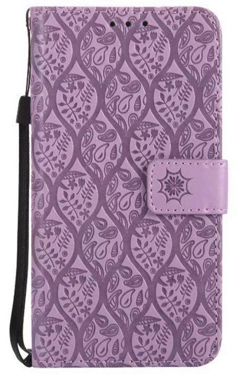 Cover Case for Sony Xperia E5 Embossed Rattan Pattern PU Leather Wallet Case - PURPLE