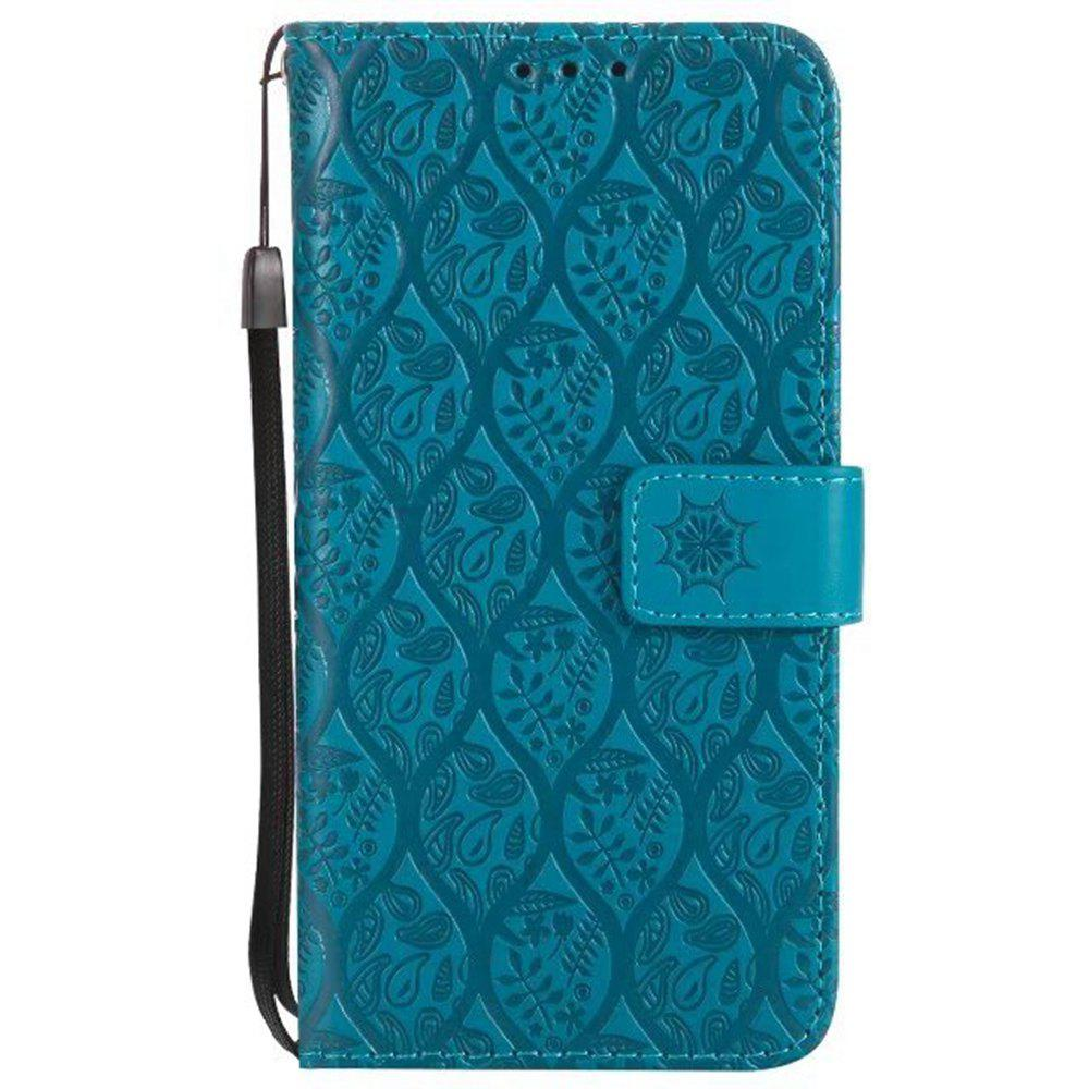 Cover Case for Sony Xperia E5 Embossed Rattan Pattern PU Leather Wallet Case - BLUE