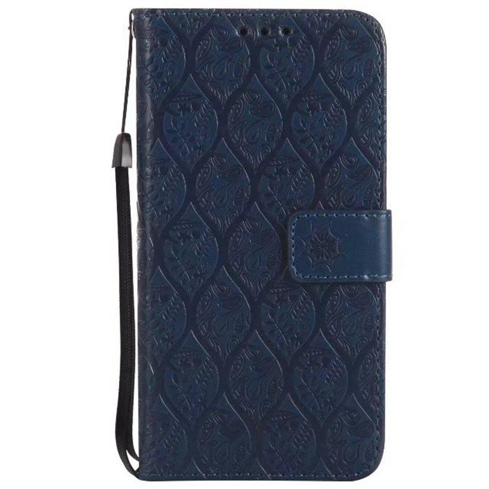 Cover Case for Sony Xperia E5 Embossed Rattan Pattern PU Leather Wallet Case - CERULEAN