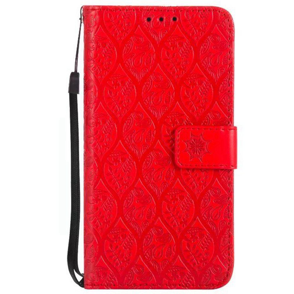 Cover Case for Sony Xperia E5 Embossed Rattan Pattern PU Leather Wallet Case - RED