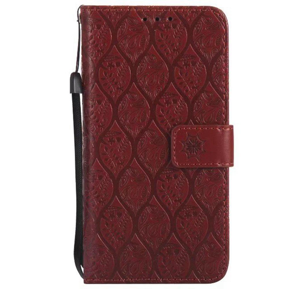 Cover Case for Sony Xperia E5 Embossed Rattan Pattern PU Leather Wallet Case - BROWN