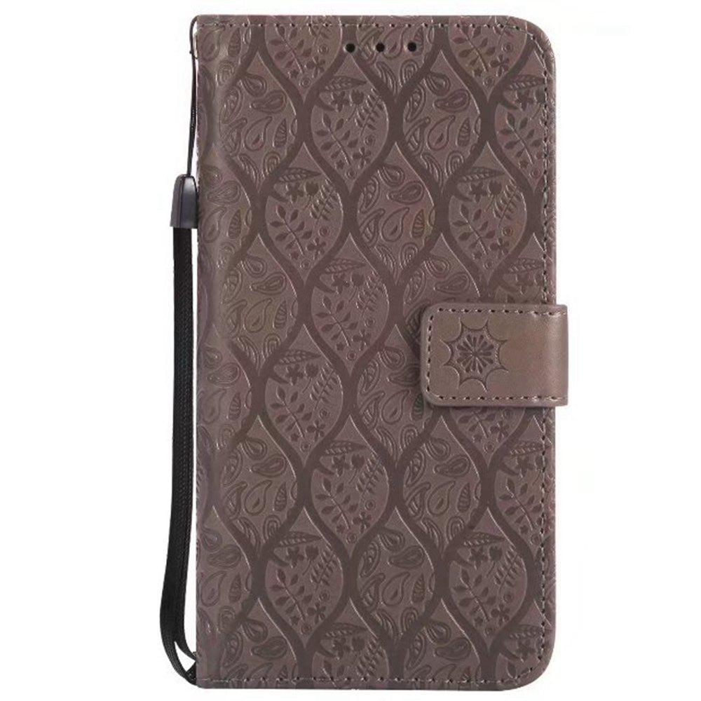 Cover Case for Sony Xperia E5 Embossed Rattan Pattern PU Leather Wallet Case - GRAY