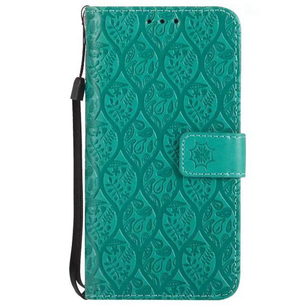 Cover Case for Sony Xperia E5 Embossed Rattan Pattern PU Leather Wallet Case - GREEN