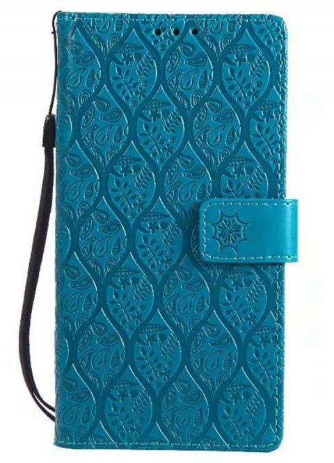 Cover Case for Sony Xperia E6 Embossed Rattan Pattern PU Leather Wallet Case - BLUE