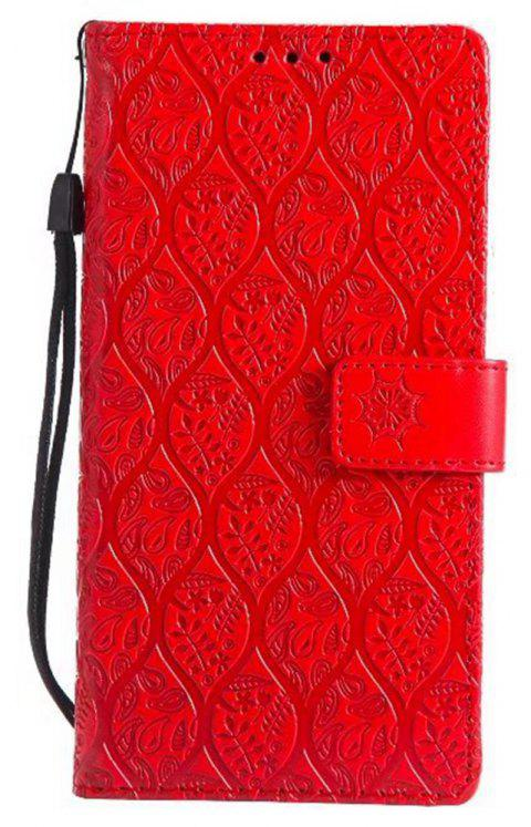 Cover Case for Sony Xperia E6 Embossed Rattan Pattern PU Leather Wallet Case - RED