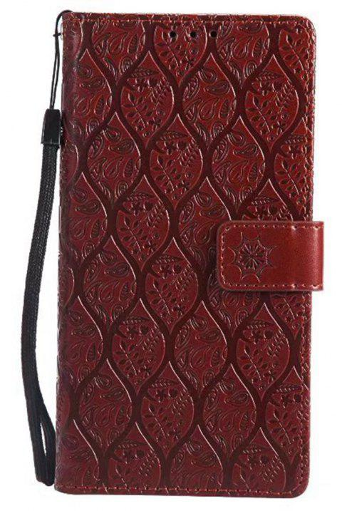 Cover Case for Sony Xperia E6 Embossed Rattan Pattern PU Leather Wallet Case - BROWN