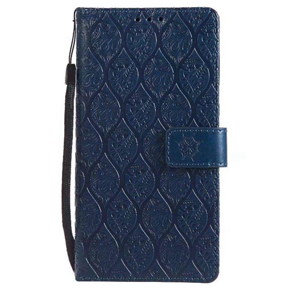 Cover Case for Sony Xperia E6 Embossed Rattan Pattern PU Leather Wallet Case - CERULEAN
