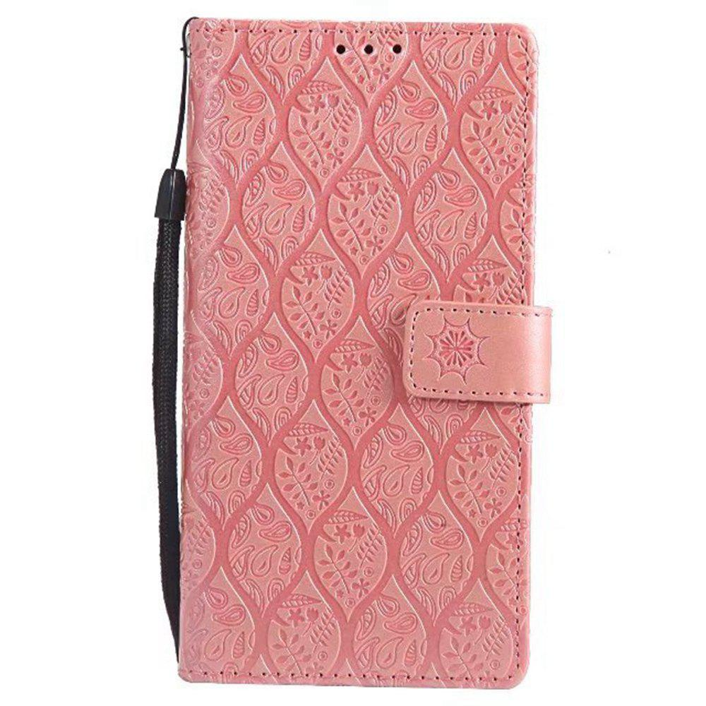 Cover Case for Sony Xperia E6 Embossed Rattan Pattern PU Leather Wallet Case - ROSE GOLD