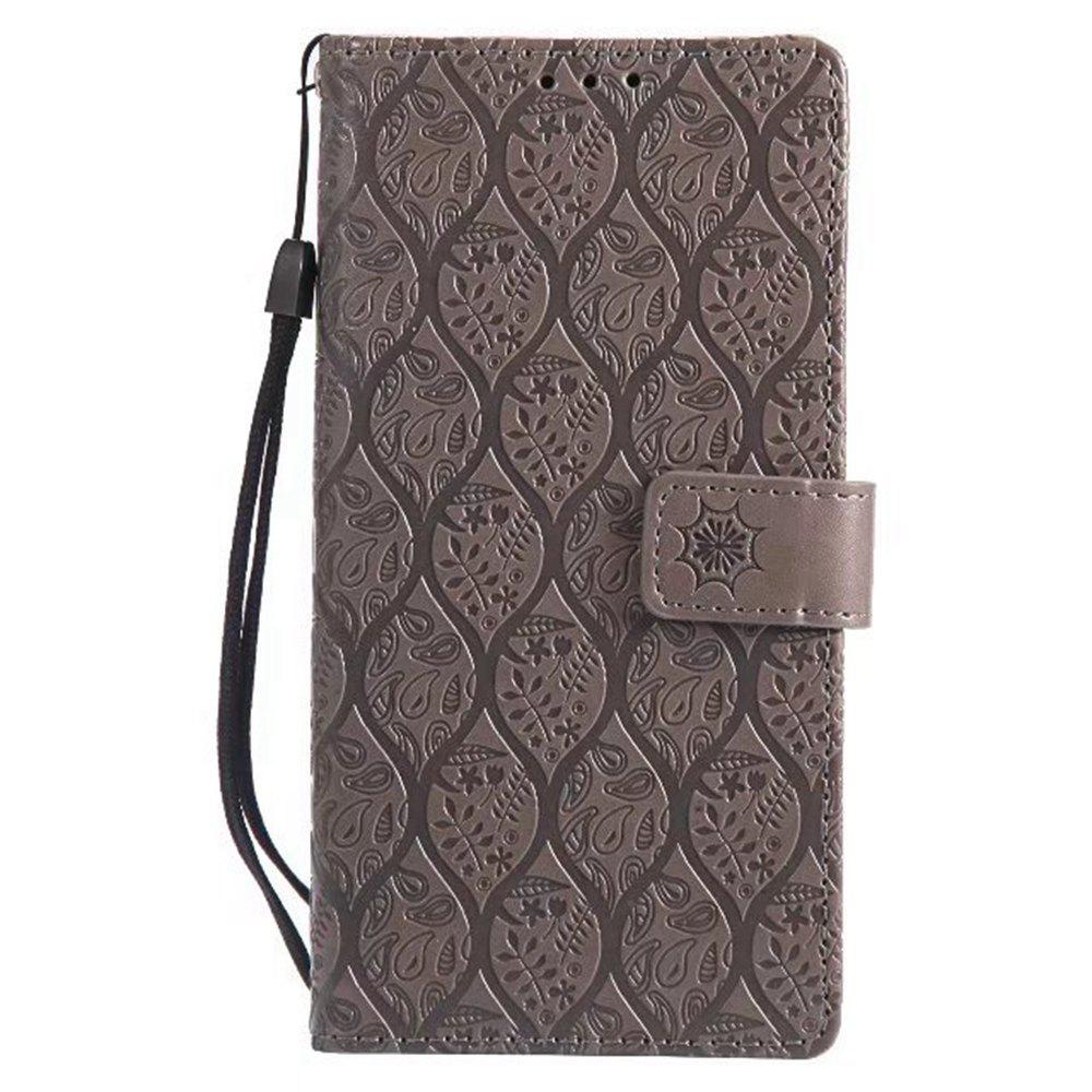 Cover Case for Sony Xperia E6 Embossed Rattan Pattern PU Leather Wallet Case - GRAY