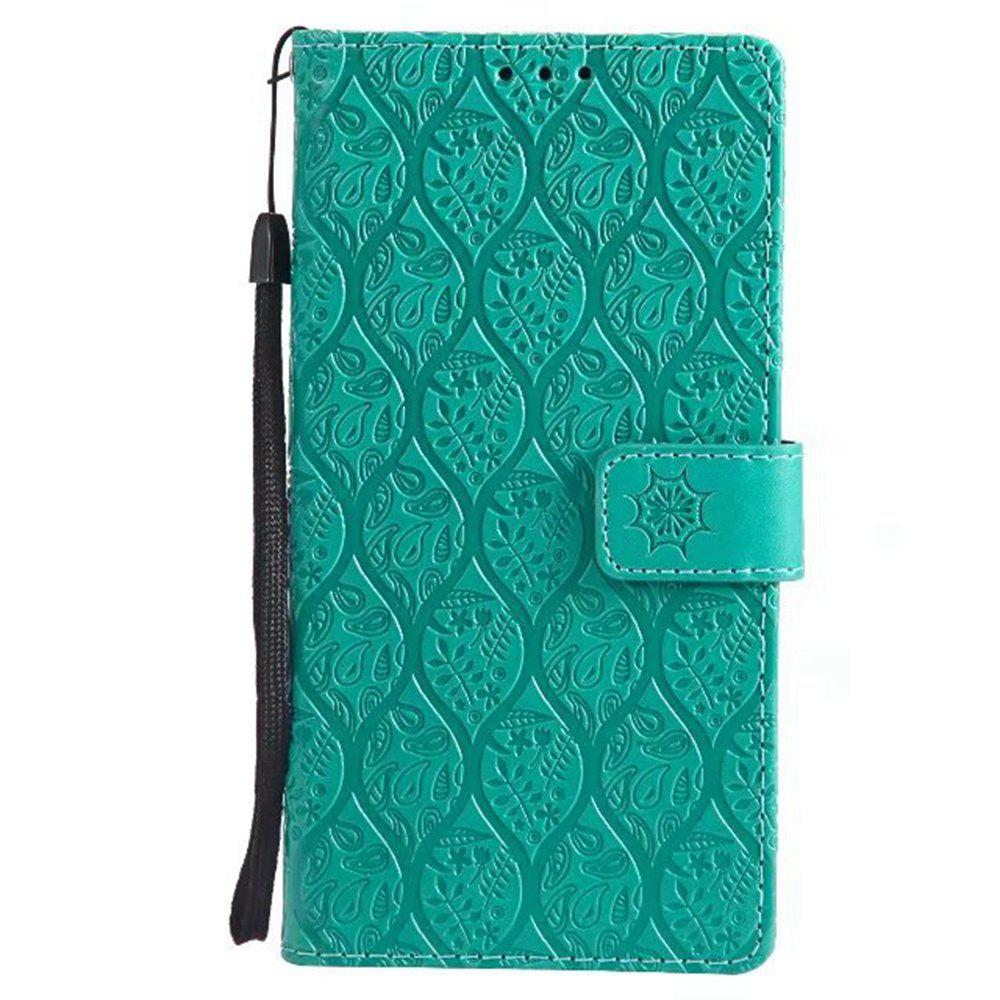 Cover Case for Sony Xperia E6 Embossed Rattan Pattern PU Leather Wallet Case - GREEN