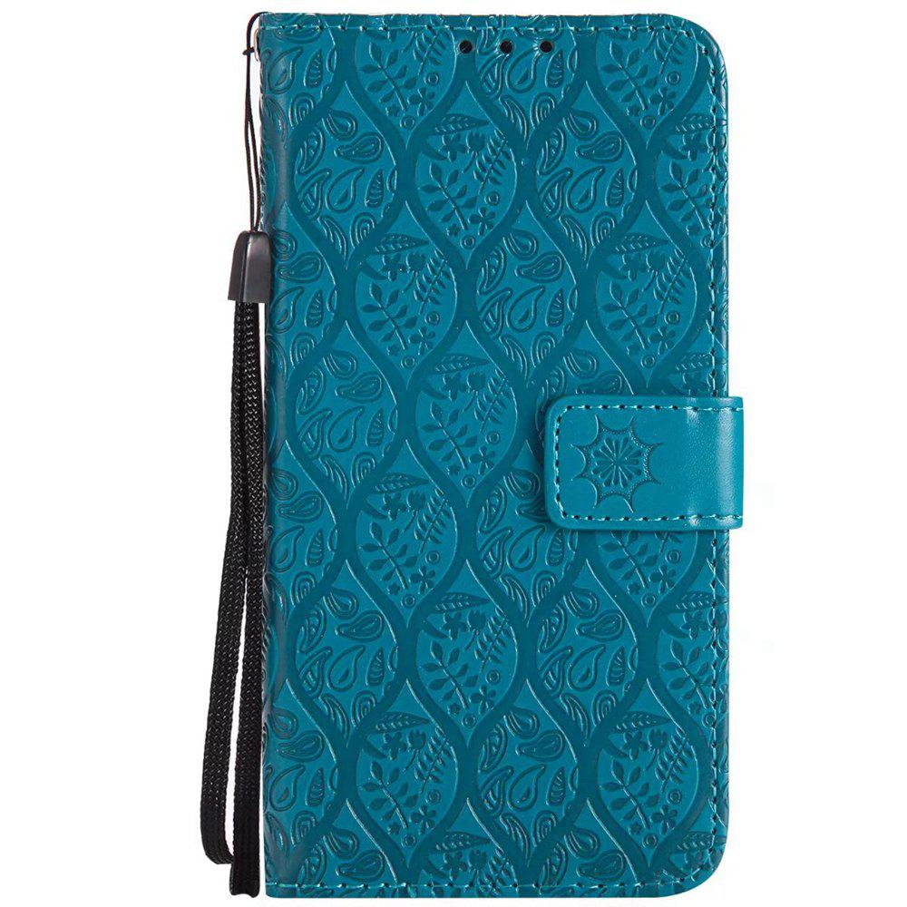 Cover Case For Sony Xperia X Performance Embossed Rattan Pattern PU Leather Wallet Case - BLUE